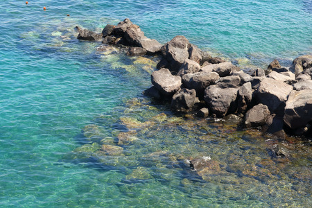 A view of the rocky waters near Sorrento