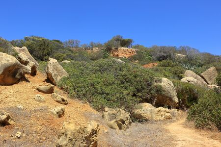 A scenic view of Caminho Da Baleeira nature reserve near to Albufeira Stock Photo