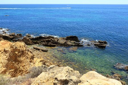 A scenic view of the Atlantic coastline near to Albufeira