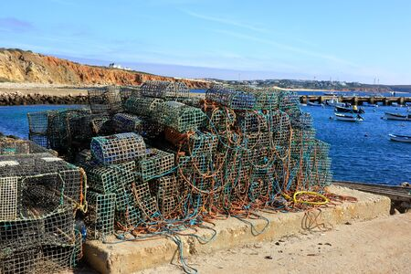 Lobster pots in the harbour at Rosso Do Veiga in the Sagres region of Portugal