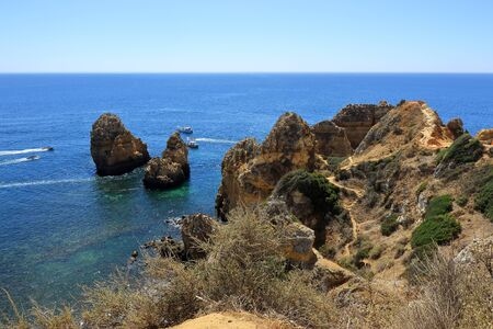 The rocky limestone headland at Ponta da Piedade