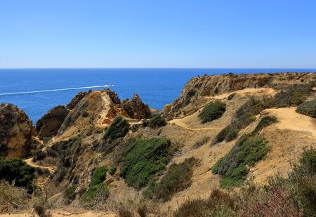 A landscape scene of the Ponta Da Piedada at Lagos Stock Photo