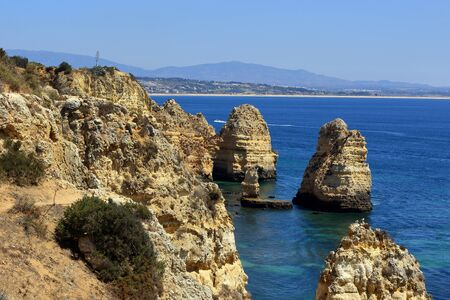 The rocky limestone pillars at Ponta Da Piedade