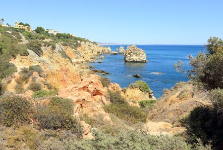 Praia Do Arrifao on the Atlantic coastline near Albufeira Stock Photo