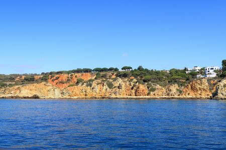 Rocky coastline near Albufeira Stock Photo