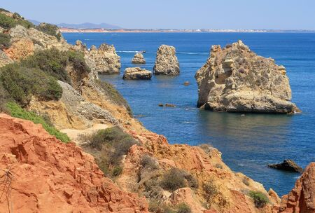 The rocky cliffs and jagged rocks near Albufeira
