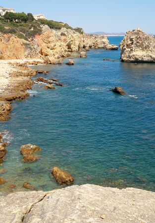 The rocky and jagged coastline near Albufeira in the Algarve region of Portugal