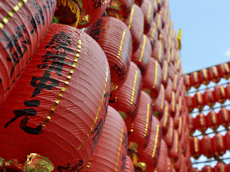 Red lanterns for blessing are lit and arrayed like a wall at Keelung Mid-Summer Ghost Festival