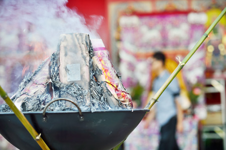 godliness: KEELUNG, TAIWAN - AUGUST 31 2012  Burning the ghost money is an activity of the ceremony at the Mid-Summer Ghost Festival  Editorial