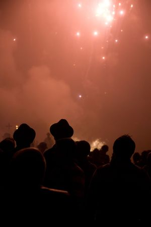 guy fawkes: a crowd watching fireworks Stock Photo