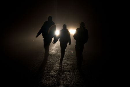 nightime: shadowy figures Stock Photo