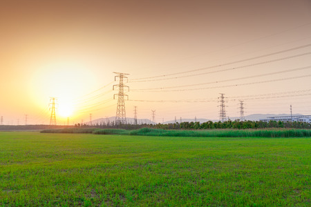 Sunset scenery with electric towers photo