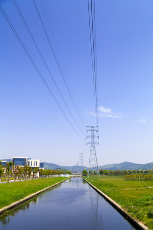 High-voltage tower with sky background. photo