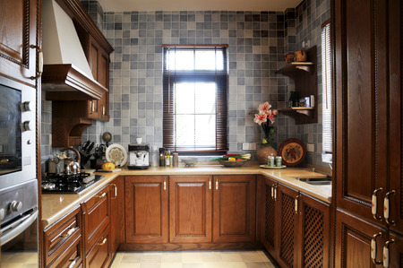 cabinets: Kitchen cabinets, a model room