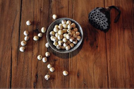 lotus seeds: A bowl of lotus seeds Stock Photo