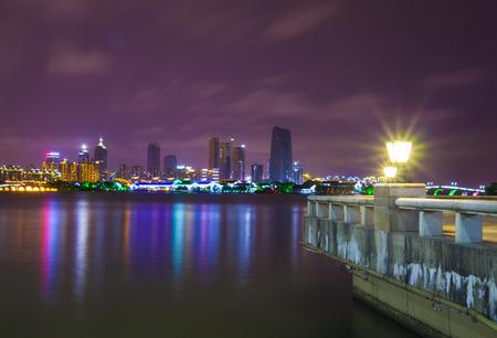 industry park: Jinji Lake of Suzhou industry Park at night Stock Photo