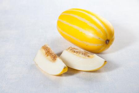 cantaloupe: Cut cantaloupe Stock Photo