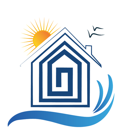 House on the beach, sun and birds logo.