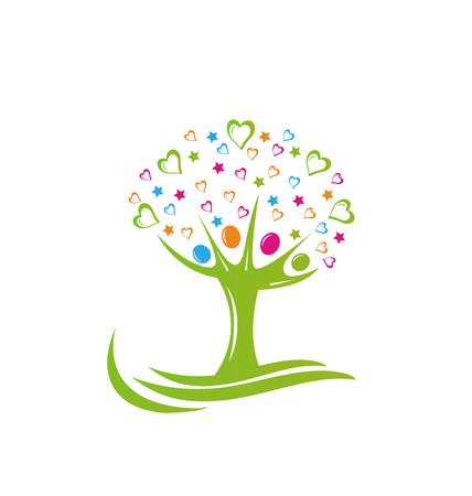 Tree people stars and hearts logo.