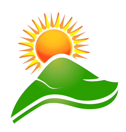 rural road: Sun with swoosh rays and hills logo
