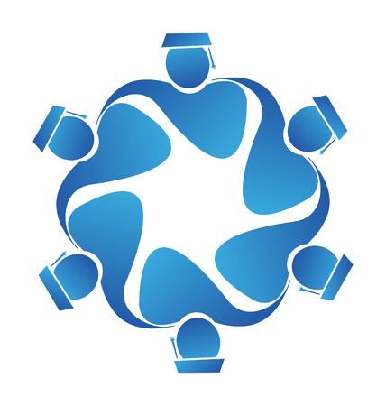 Teamwork graduates icon vector Illustration