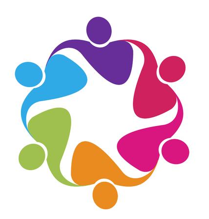 Teamwork in a hug logo vector
