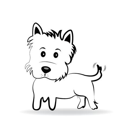 Cute Yorkshire Terrier Cartoon Vector Logo Illustration