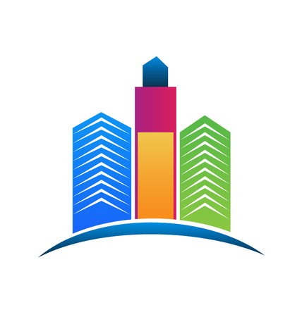 Logo Colorful Real Estate City Buildings