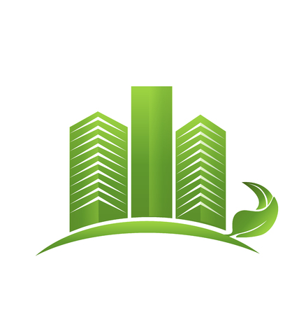 Green Modern Real Estate Town Logo Illustration