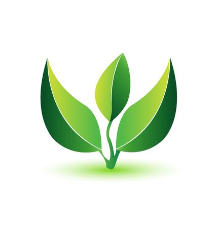 Green leafs healthy plant logo Çizim