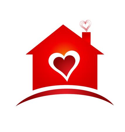Huis van hart logo creatief ontwerp logo