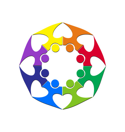 Teamwork with hearts surrounding each other logo