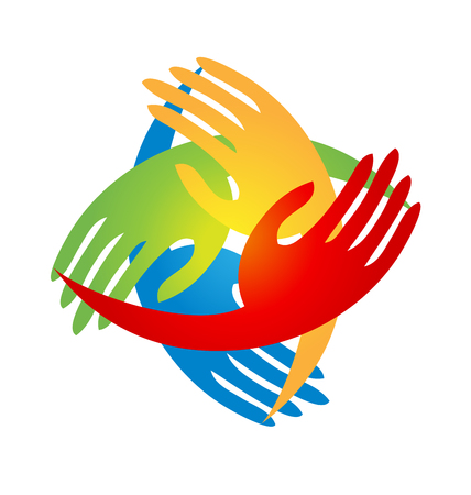 Team hands coming together logo