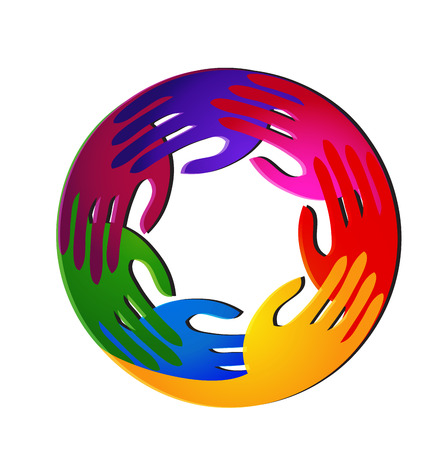 Teamwork hands vivid colors and diversity logo