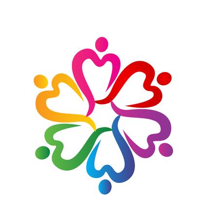 teammates: People hearts around logo vector Illustration