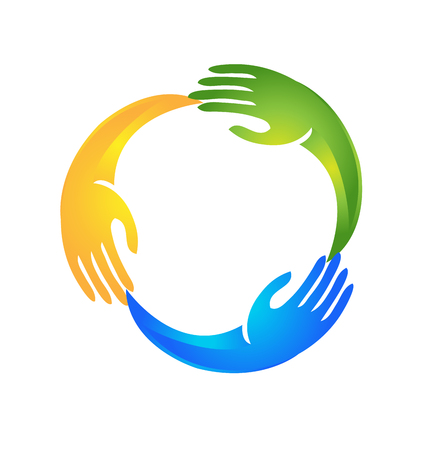 child care: Hands guiding each other in a circle shape logo Illustration