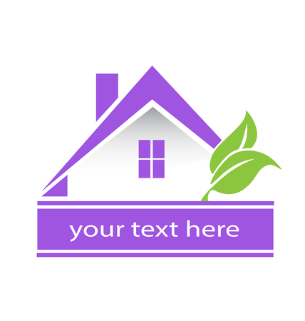 Logo purple house and leafs real estate