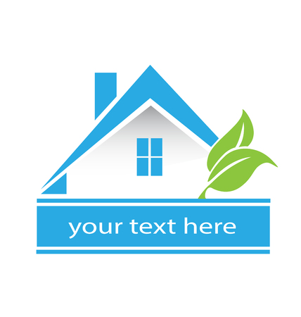 Logo blue house and leafs real estate