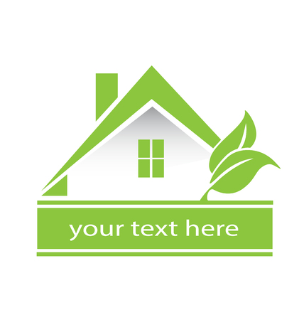 Logo green house and leafs real estate