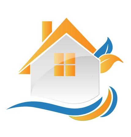 House leafs and waves creative logo