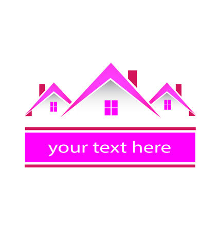 pink roof: Real estate pink houses logo
