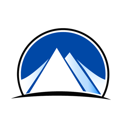 Blue landscape and mountains logo