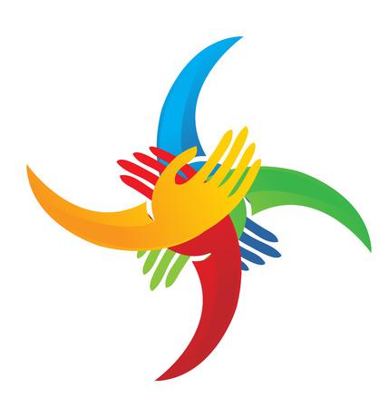 child care: Teamwork group of hands coming together logo Illustration
