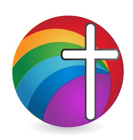 trust god: Cross abstract isolated logo Illustration