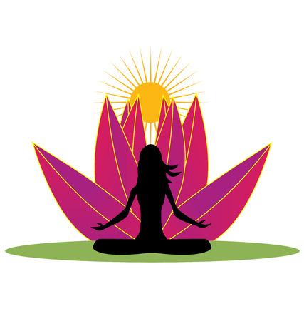 meditation man: Yoga and pink lotus flower logo