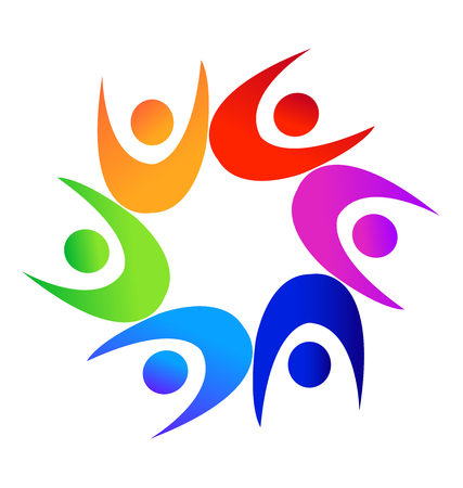 together voluntary: Teamwork colorful diverse people logo