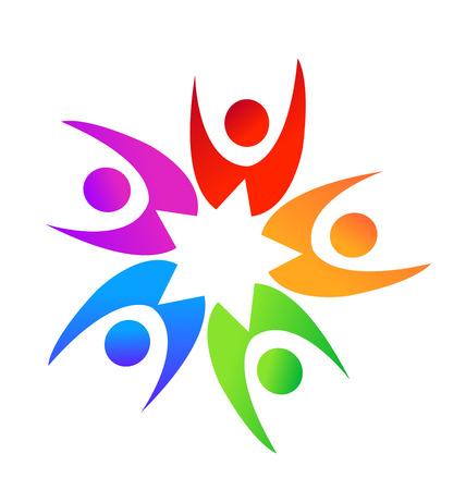 swooshes: Teamwork star shape people logo