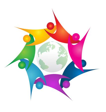 Teamwork swoosh people around green world logo Illustration