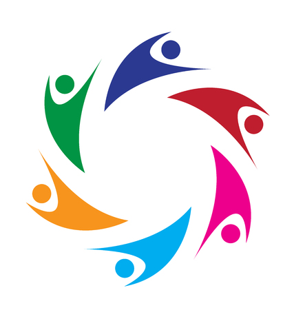 together voluntary: Teamwork swoosh people logo Illustration
