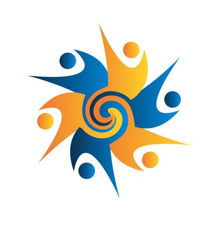 together voluntary: Teamwork swirly business people logo